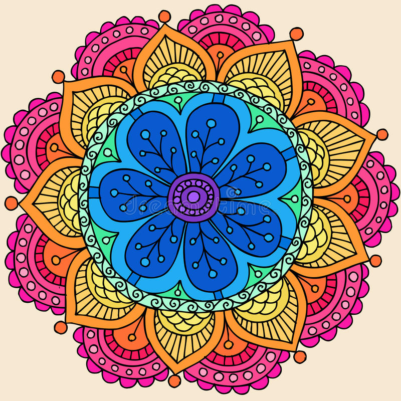 Psychedelic Henna Mandala Doodle Flower Vector royalty free illustration