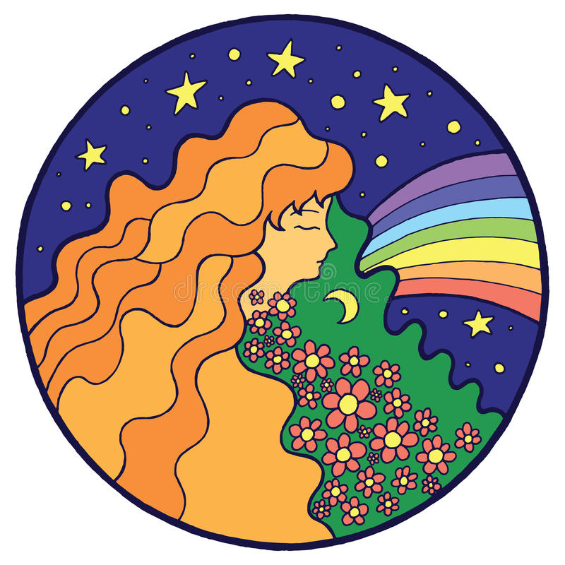 Psychedelic hippie girl with flower in hair stock illustration