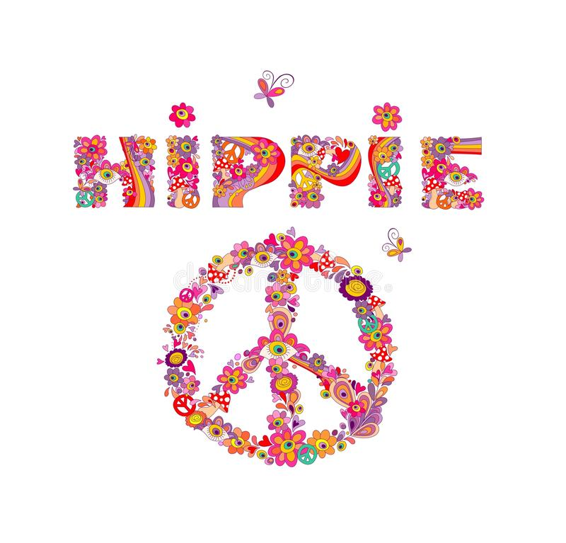 Free Psychedelic Hippie Lettering And Peace Symbol With Colorful Abstract Flowers, Peace Symbol, Eyes And Fly Agaric. Isolated On White Royalty Free Stock Images - 88738189