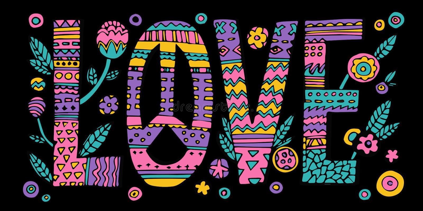 Psychedelic hippie Love lettering vector illustration