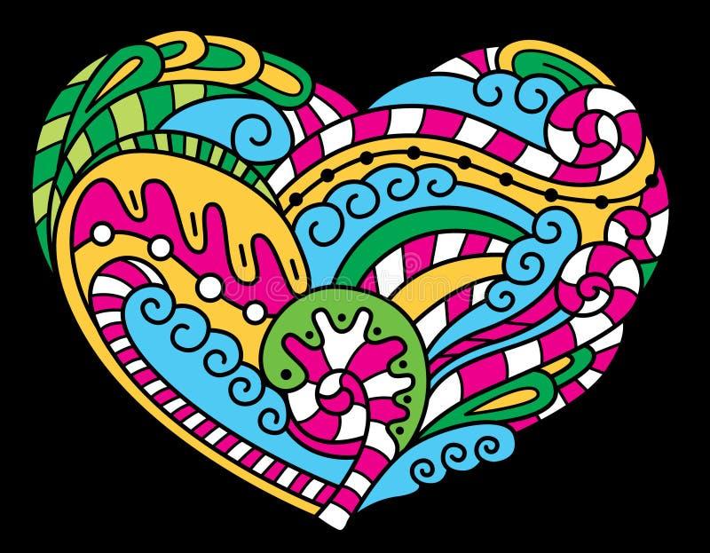 psychedelic hjärta stock illustrationer