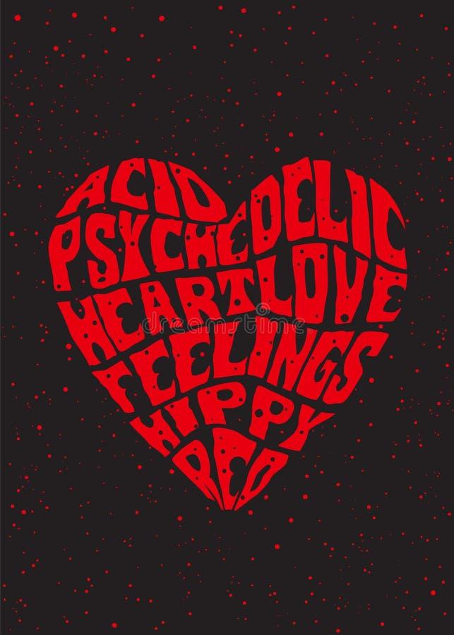 Psychedelic hjärta royaltyfri illustrationer