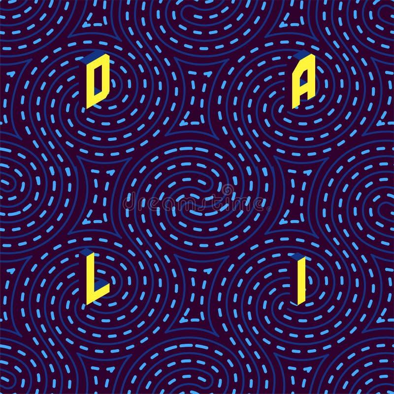 Psychedelic hypnotic swirl dali tehnique seamless vector pattern. Psychedelic hypnotic swirl dali tehnique seamless pattern, vector illustration stock illustration
