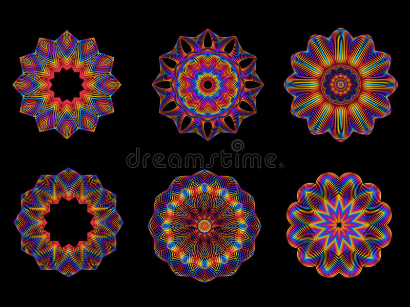 Psychedelic Kaleidoscope Spirograph Motifs stock illustration