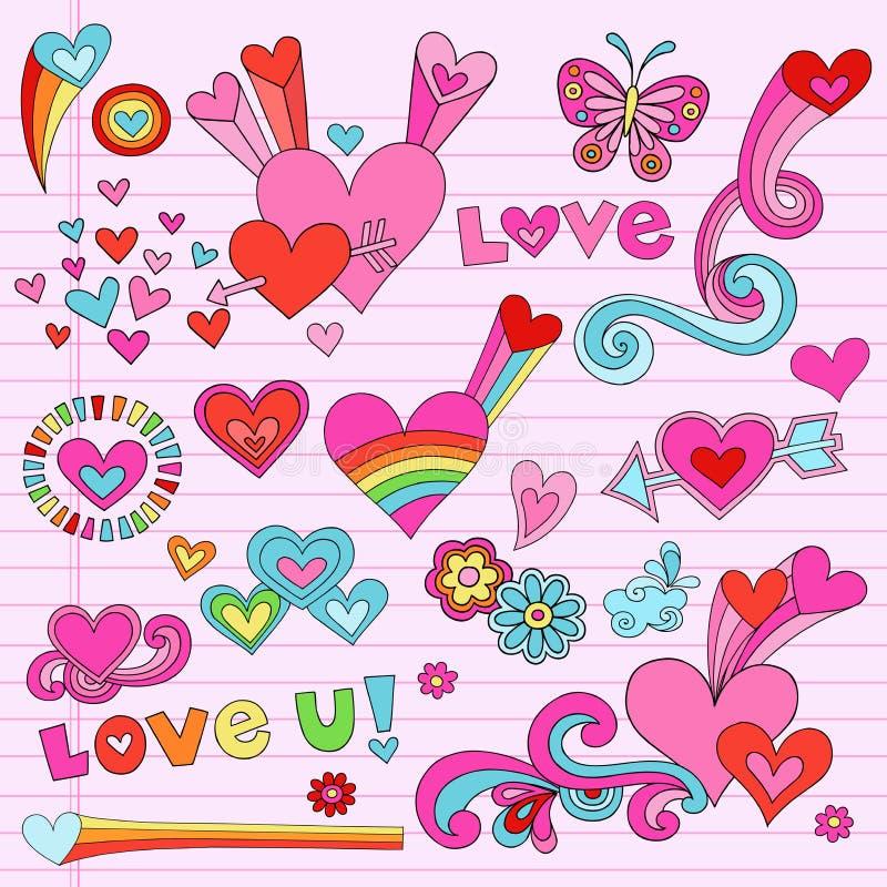 Download Psychedelic Love Heart Doodles Vector Set Stock Vector - Image: 22852517