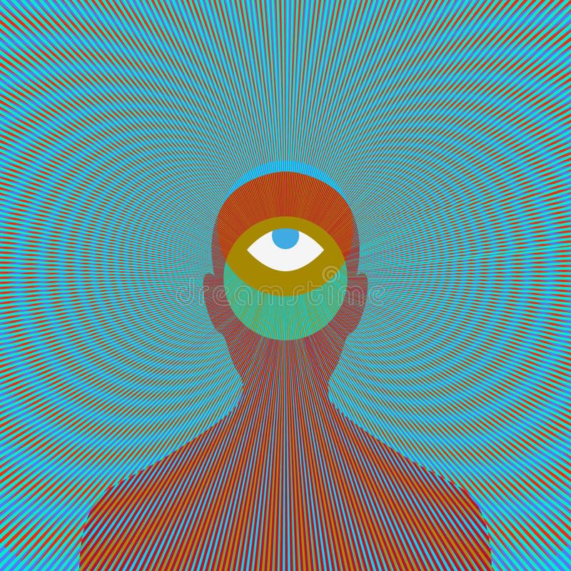 Psychedelic magic man with eye. royalty free stock image