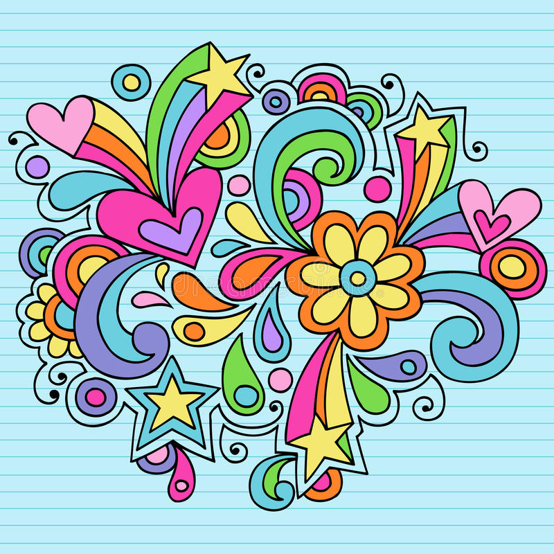 Psychedelic Notebook Doodle Vector royalty free illustration