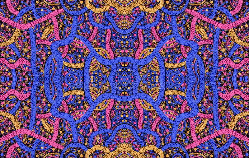 Psychedelic ornamental background. Geometrical pattern. Vector illustration vector illustration