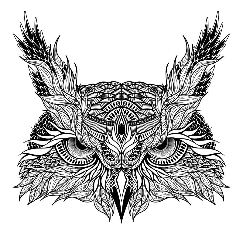 Psychedelic owl head tattoo stock illustration