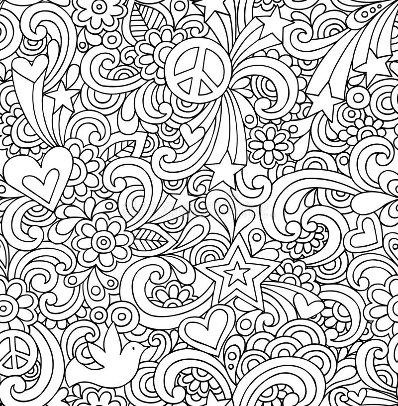 Psychedelic Peace Doodles Seamless Pattern royalty free illustration