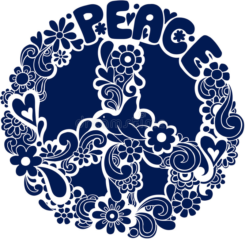 Download Psychedelic Peace Sign Silhouette Vector Illus Stock Vector - Image: 6616857