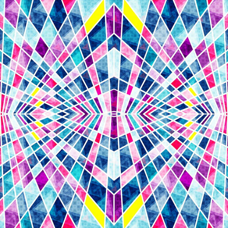 Psychedelic polygons with white contours bright abstract geometric background stock illustration