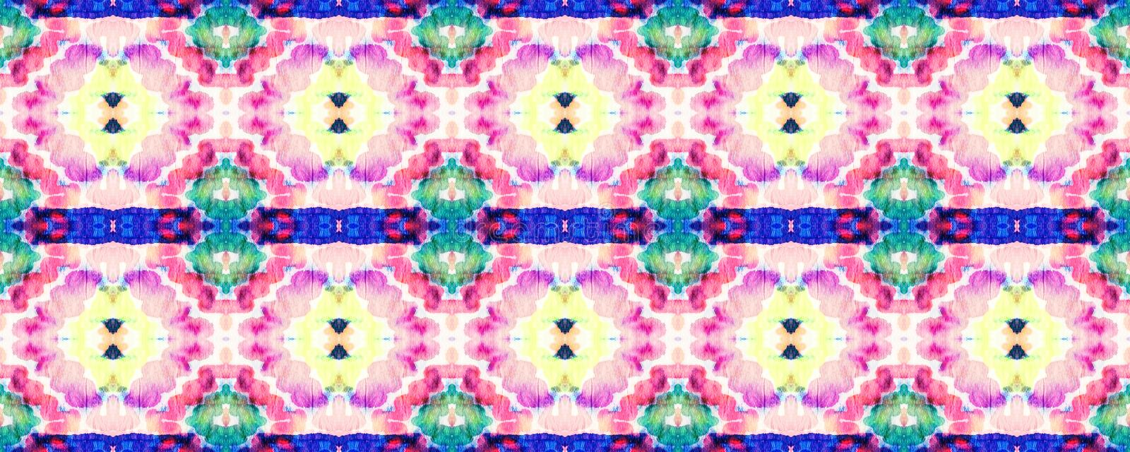 Ikat Seamless Pattern. Psychedelic Rainbow Aztec Geometric Textile Border Watercolor Hand Drawn Textile. Creative Navajo Ikat Background. Allover Organic stock photography