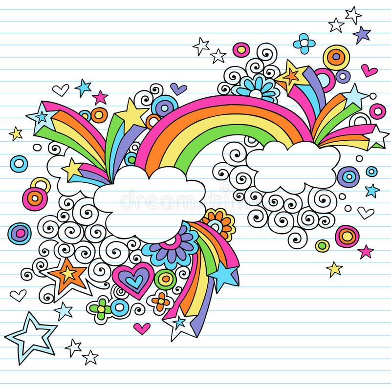 Psychedelic Rainbow Notebook Doodle Vector stock illustration