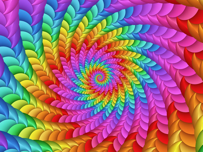 Psychedelic Rainbow Spiral Background. Texture stock illustration