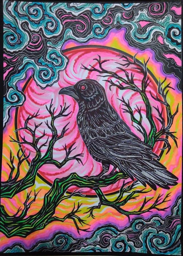Psychedelic Raven stock photo