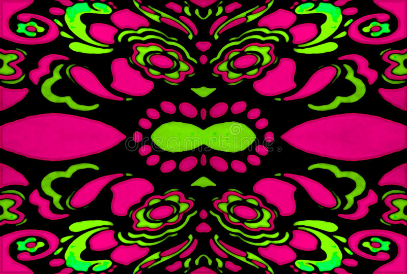 Psychedelic Retro Ornament. Psychedelic retro style ornament pattern design in vibrant and saturated complementary green and magenta colors royalty free stock images
