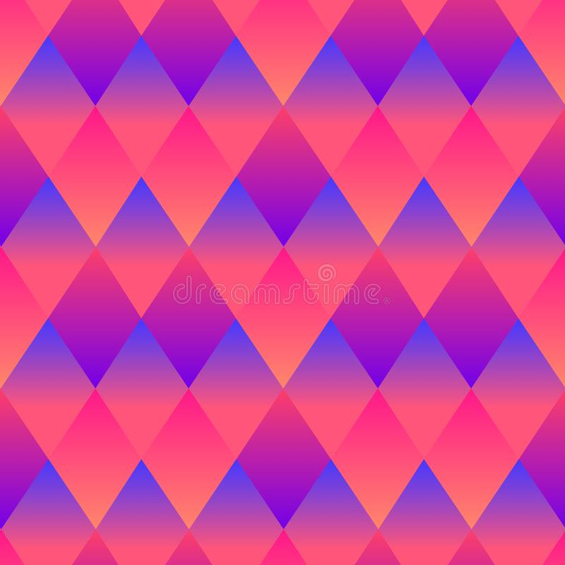Psychedelic rhombuses bright abstract decorative seamless pattern, neon pink purpule blue gradient colors. royalty free illustration