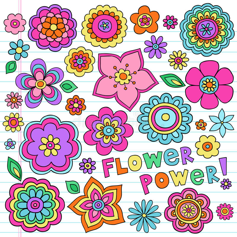 Psychedelic Set för flower powerklottervektor vektor illustrationer