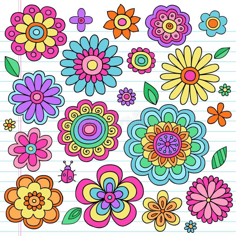 Psychedelic Set för flower powerklottervektor stock illustrationer