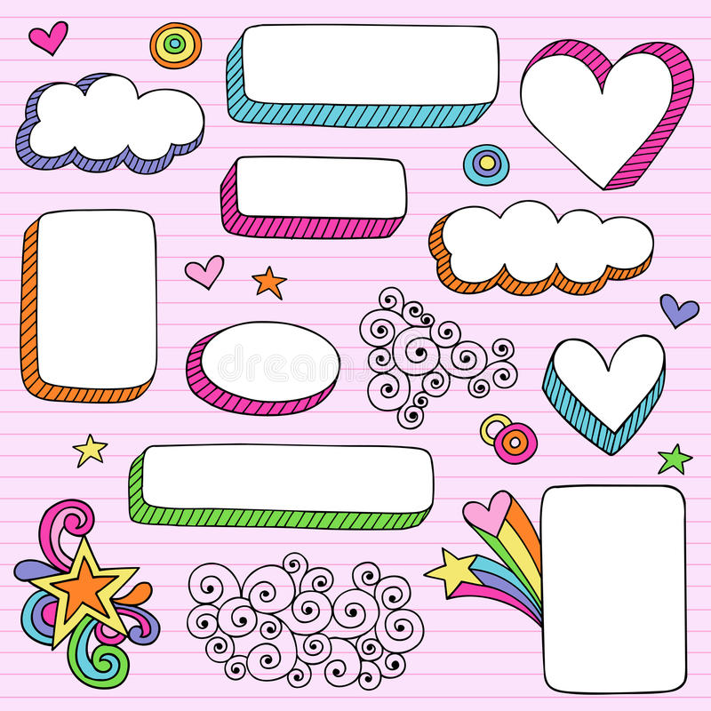 Psychedelic Shape Frames Notebook Doodle Vector Stock Images