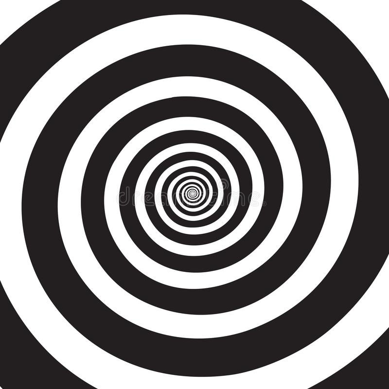 Psychedelic spiral. Hypnotic swirl. Black and white rotating circles in hypnotic motion. Optical illusion. Abstract vector background vector illustration