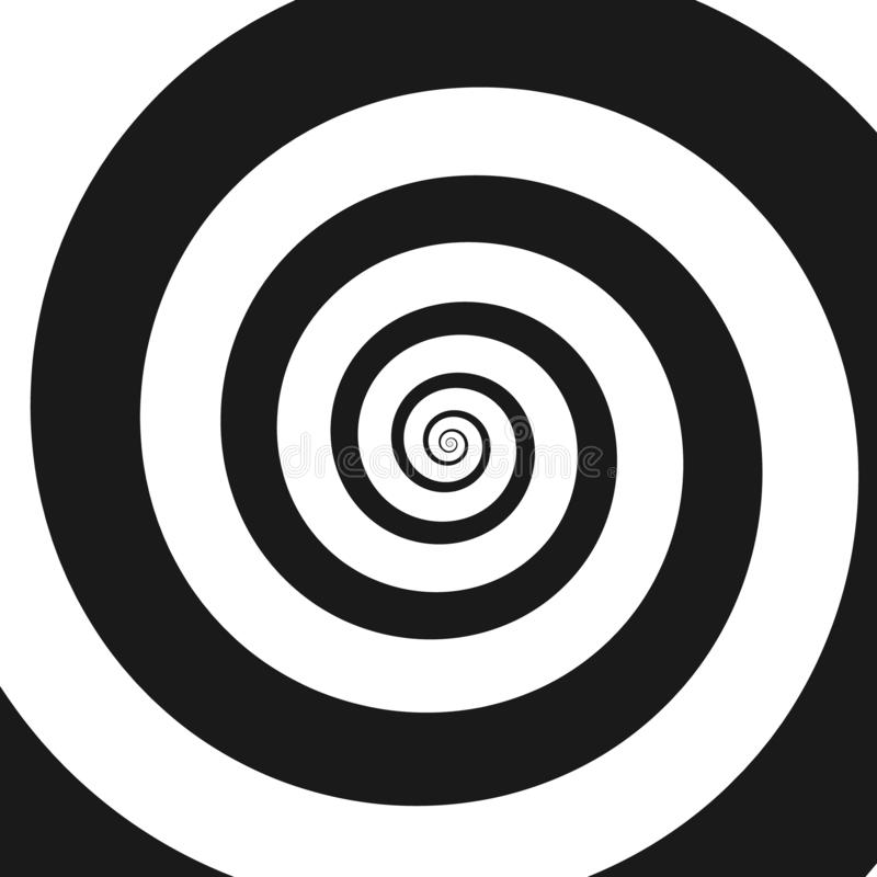 Psychedelic spiral with radial rays, twirl. Twisted comic effect, vortex backgrounds. Hypnotic spiral royalty free illustration