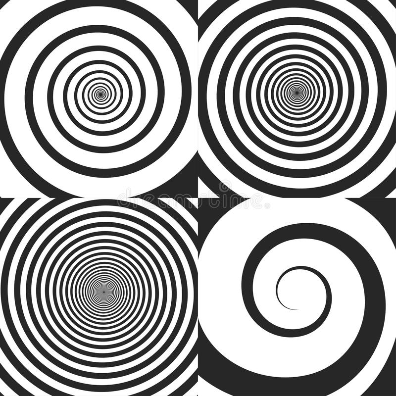 Psychedelic spiral, swirl. Twisted cosmics effect, vortex backgrounds set stock illustration