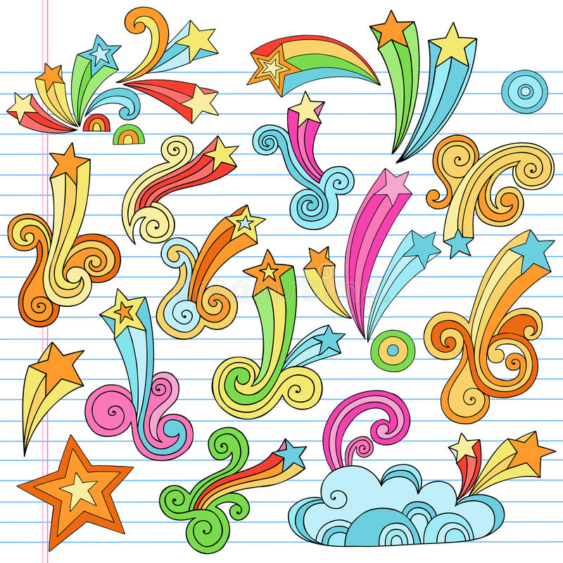 Psychedelic Stars Notebook Doodles Vector Elements Stock Photo