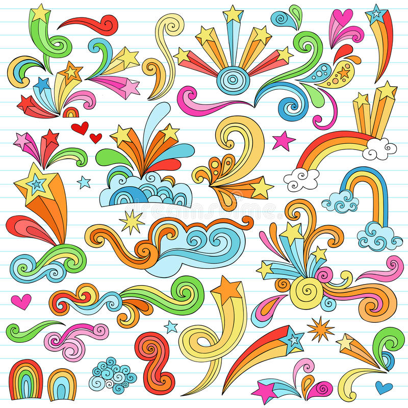Download Psychedelic Stars Notebook Doodles Vector Elements Stock Vector - Image: 22711658