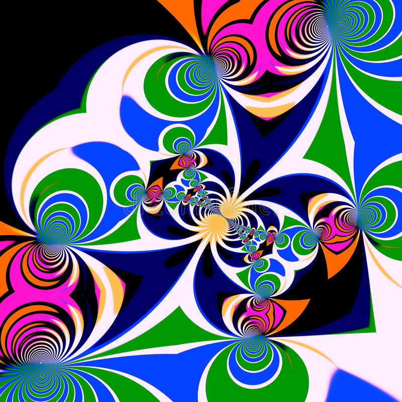 Psychedelic style background. Illustration design. Symmetrical pattern. Clipart spirals. Art decoration. Abstract effect. royalty free illustration