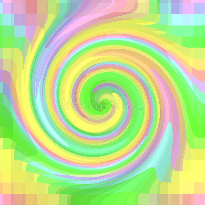 Psychedelic Swirl. Bright and vivid burst of a psychedelic rainbow of colors blending together in a fun colorful background swirl vector illustration