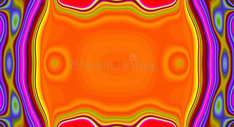 Psychedelic symmetry abstract pattern and hypnotic background, bright zine culture vector illustration