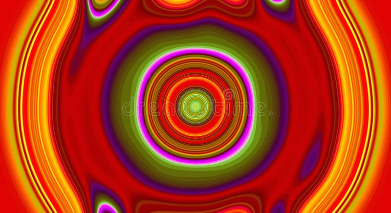 Psychedelic symmetry abstract pattern and hypnotic background, color crazy stock illustration