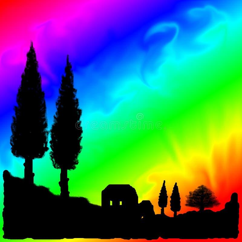 psychedelic tegelplatta tuscany stock illustrationer