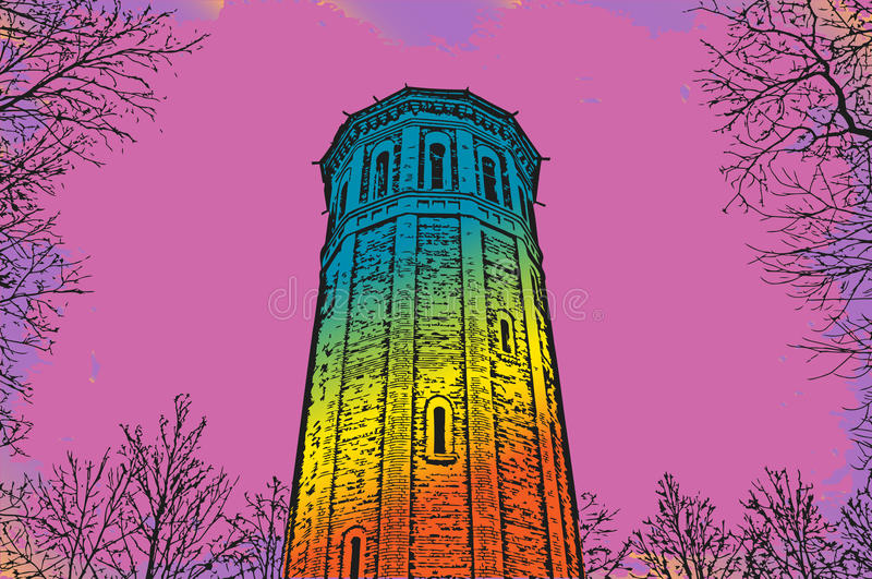 Psychedelic Tower Framed By The Trees Stock Vector - Illustration of ...