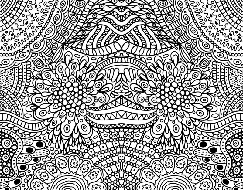 Psychedelic tribal funky symmetrical background. Coloring page for adults. Vector illustration.  royalty free illustration