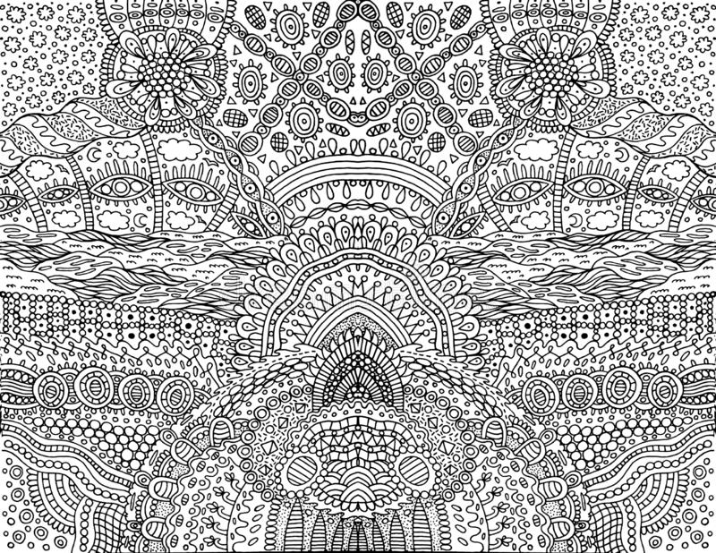 Psychedelic tribal outline symmetrical background. Fantastic cartoon doodle ornament. Coloring page for adults. Vector. Illustration royalty free illustration