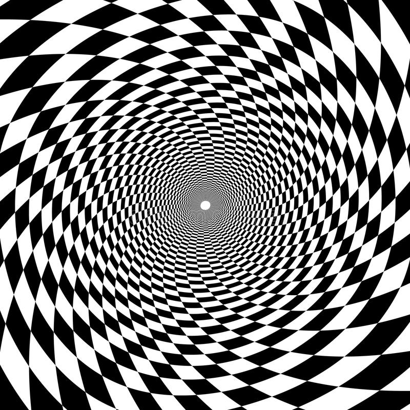 Psychedelic tunnel, chessboard pattern in black and white, trump royalty free stock image