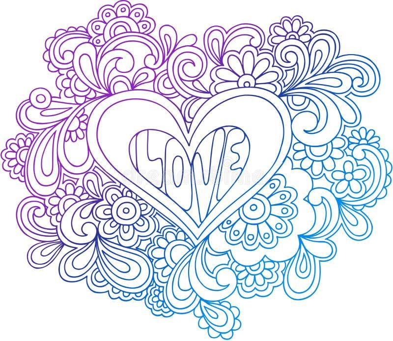 psychedelic vektor för hjärtaillustrationöversikt vektor illustrationer