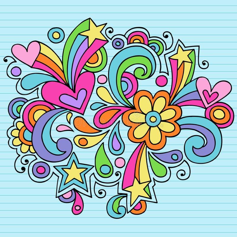 psychedelic vektor för klotteranteckningsbok royaltyfri illustrationer