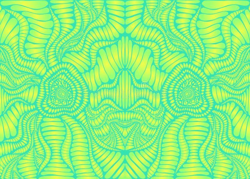 Psychedelisch helder trippy kleurrijk patroon, kalk gele gradiënt, en groen kleurenoverzicht Decoratieve elementen originele acht stock illustratie