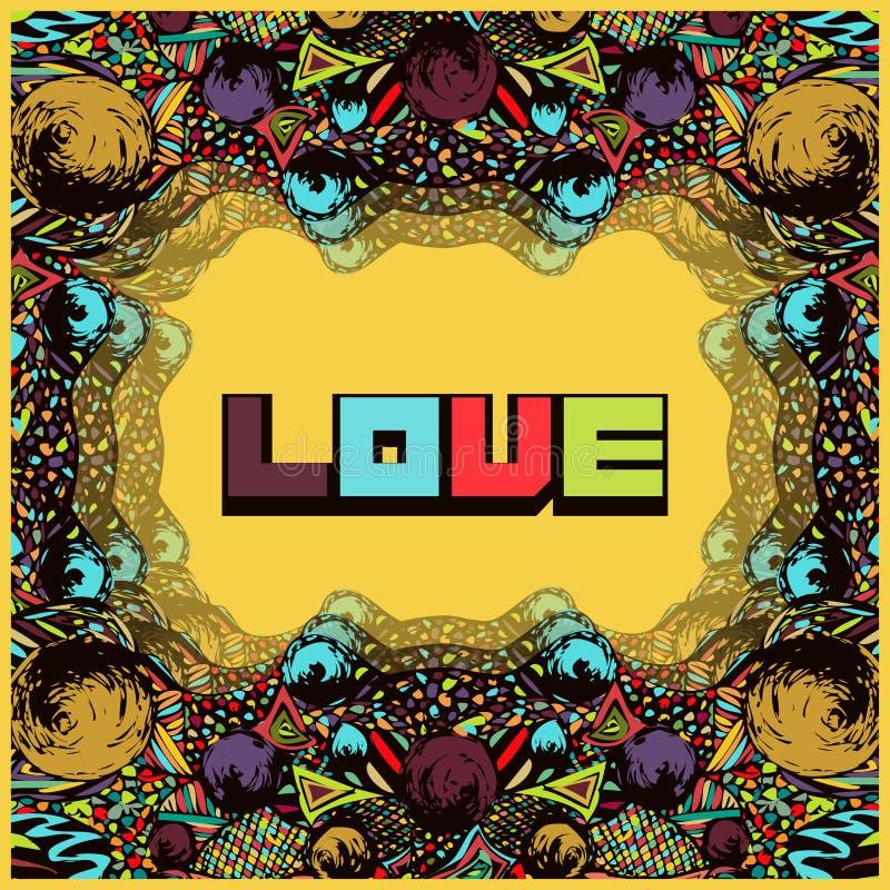 Psychedelisch kader in stijlpop-art Abstracte kaart, uitnodiging, dekking in uitstekende hippy stijl Multicolored retro ornament, royalty-vrije illustratie