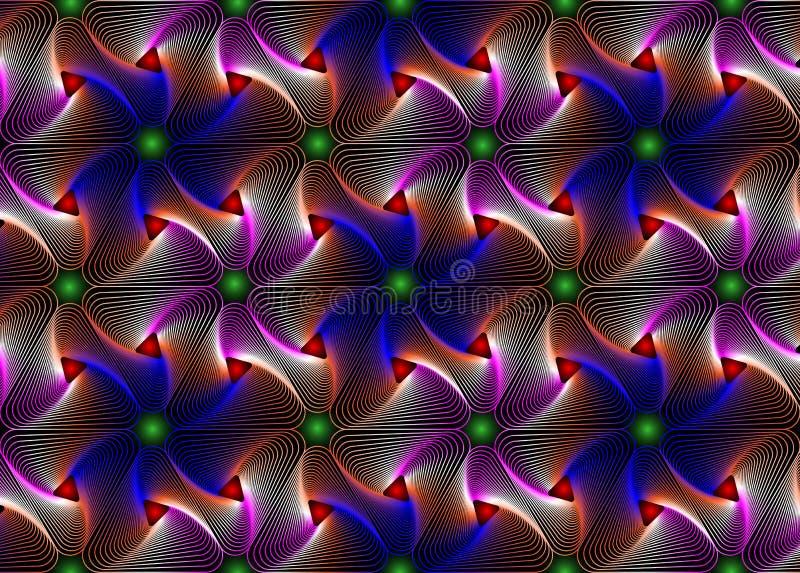 Psychedelisch Naadloos Web Geometrisch Patroon Het Behang van de kadergrens stock illustratie