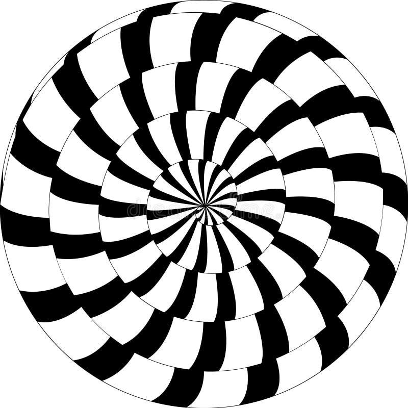 Psychedelisch patroon, slak, zwart-witte spiraalvormige, optische illu stock illustratie