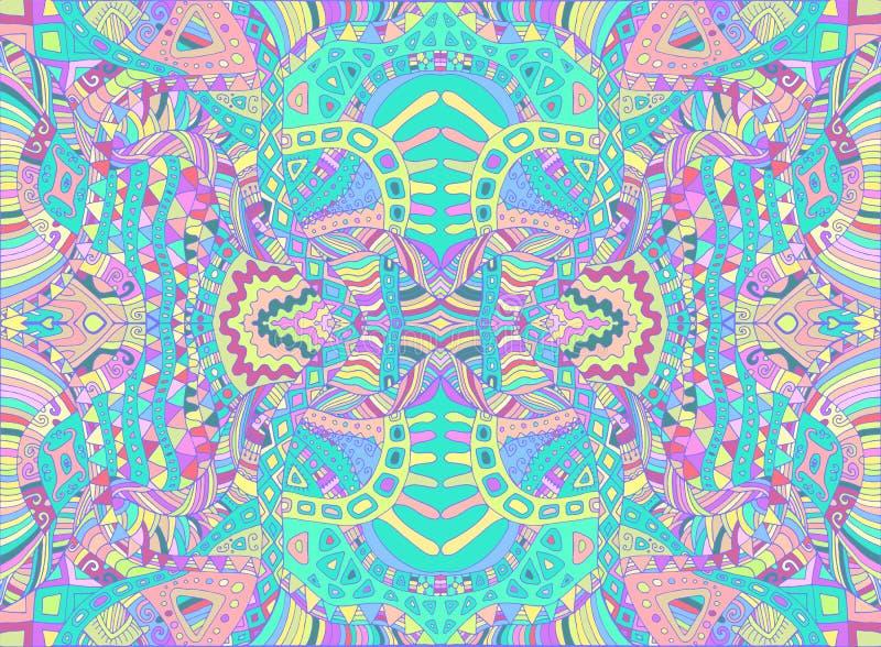Psychedelisch stammen kleurrijk surreal krabbelpatroon Hippie abstract patroon, labyrint van ornamenten Vector getrokken hand vector illustratie