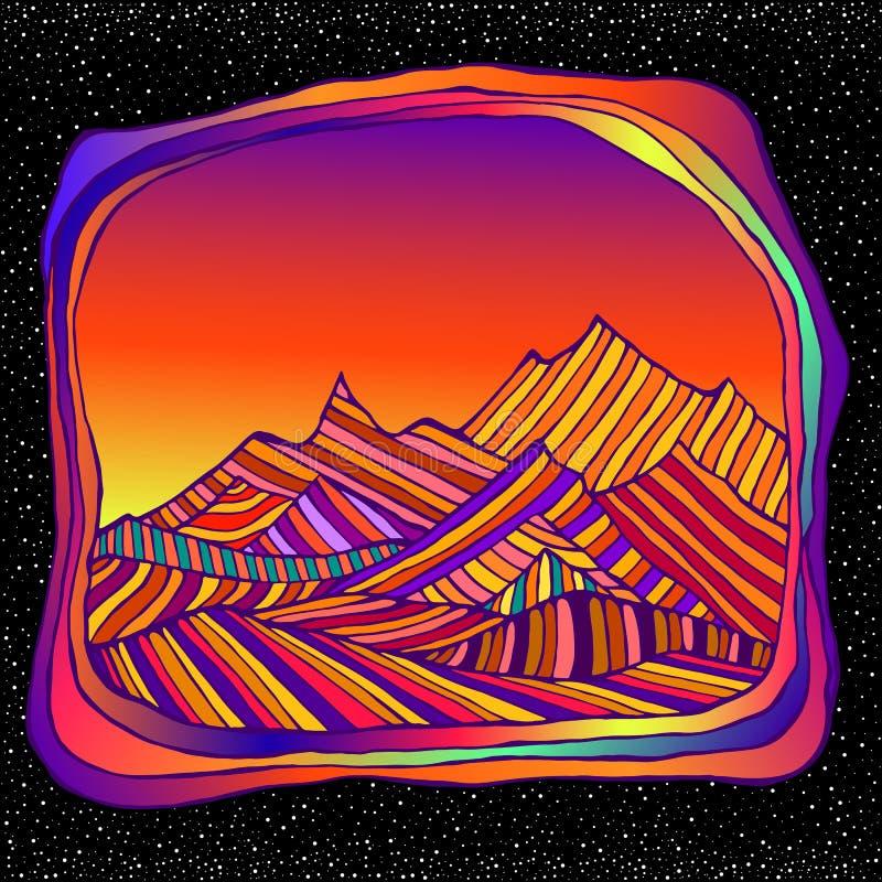 Psychedelisch surreal Landscepe mit farbenprächtigen Bergen, isoliert im Weltraum und Sternenuntergrund Retro-Hippie-Stil stock abbildung