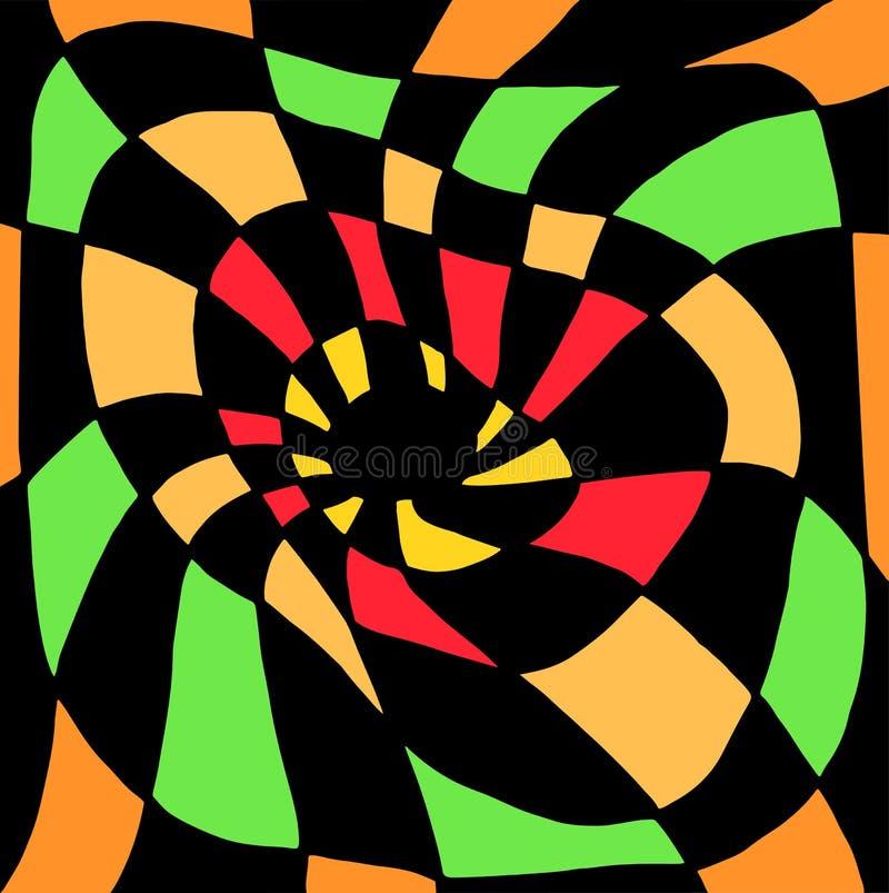 Psychedelisch verdraaid abstract die ornament, in zwarte en oranje, groene, rode vierkanten wordt verdeeld Decoratieve surreal il royalty-vrije illustratie