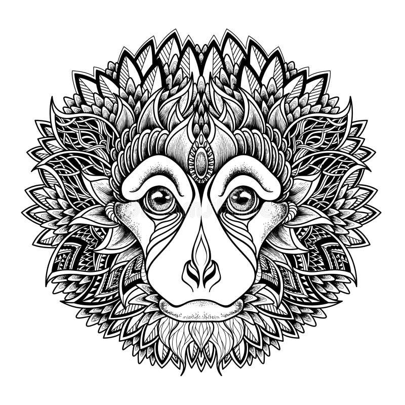 Psychedelische aap hoofdtatoegering Zentanglestijl royalty-vrije illustratie