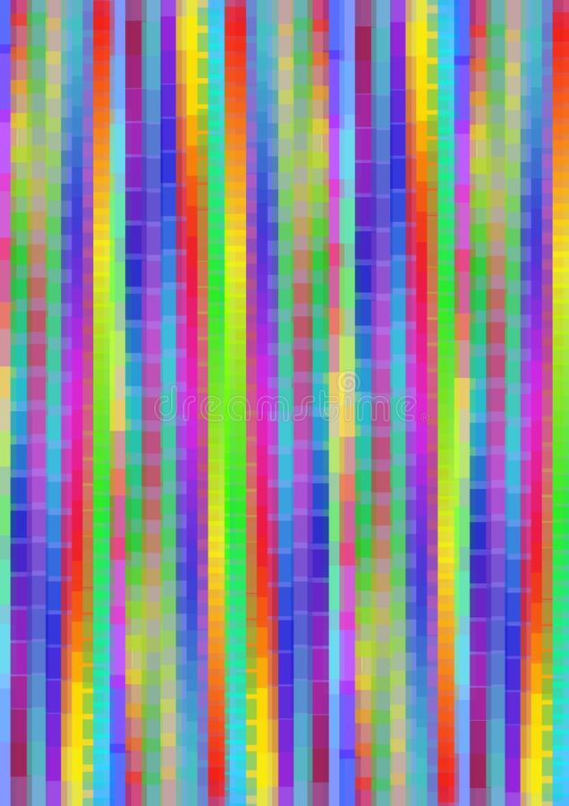 Psychedelische de regenboog pixelated achtergrond met verticale stroken in levendige kleuren, multicolored hoge tegenover elkaar  stock illustratie